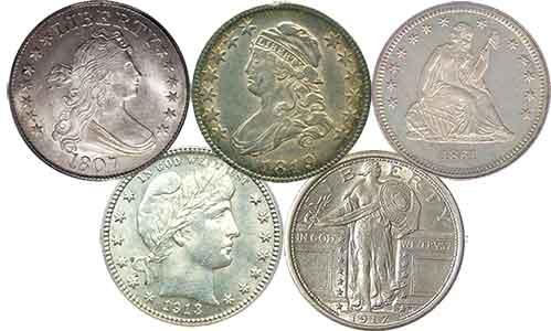 silver US quarters