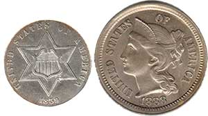 Silver and Nickel Three cents