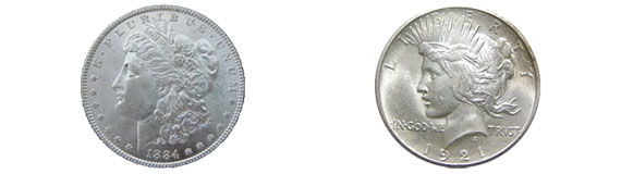 morgan and peace silver dollar