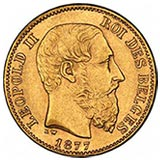 1877 gold coin from Belgium